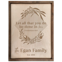 Personalized Scripture Verse Plaque - Square (I Corinthians 16:14)