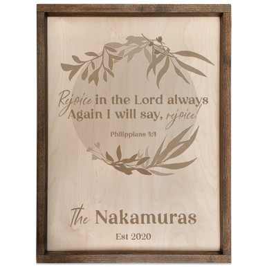 Personalized Scripture Verse Plaque - Circle (Philippians 4:4)