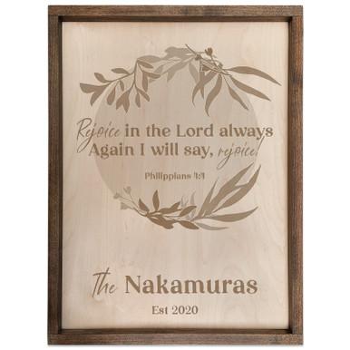 Personalized Scripture Verse Plaque - Circle (Philippians 4:4)
