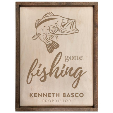 Gone Fishing Personalized Wood Sign - Bass