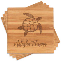 Personalized Sea Turtle Coaster Set