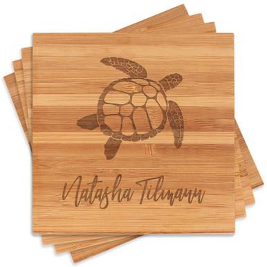 Personalized Sea Turtle Coaster Set