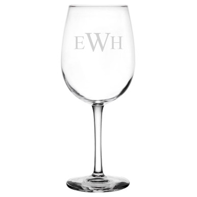 Personalized Wine Glass Traditional Initials