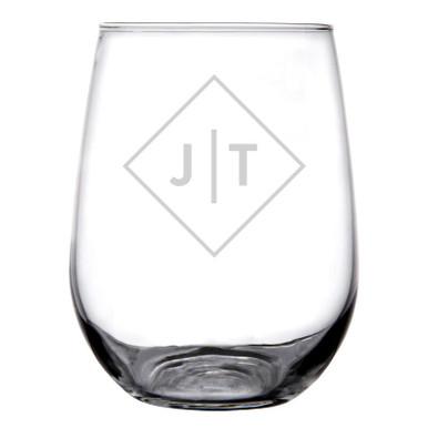 Personalized Stemless Wine Glass Diamond Initials