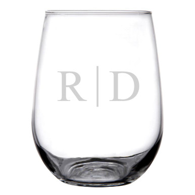 Personalized Stemless Wine Glass Classy Monogram