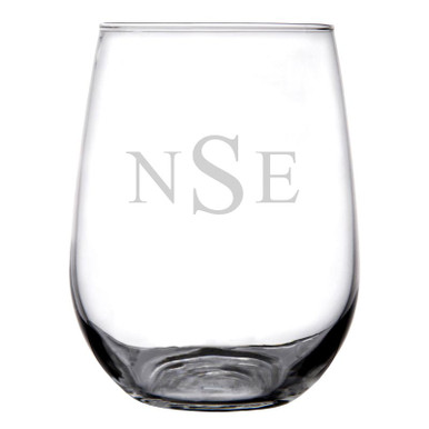 Personalized Stemless Wine Glass Traditional Monogram
