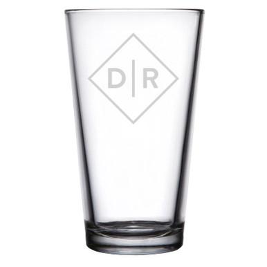 Personalized Pint Glass Diamond Initials