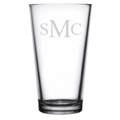 Personalized Pint Glass Traditional Monogram