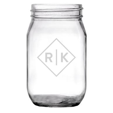 Personalized Mason Jar Diamond Initials