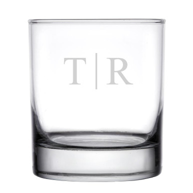 Personalized Rocks Whiskey Glass Classy Monogram