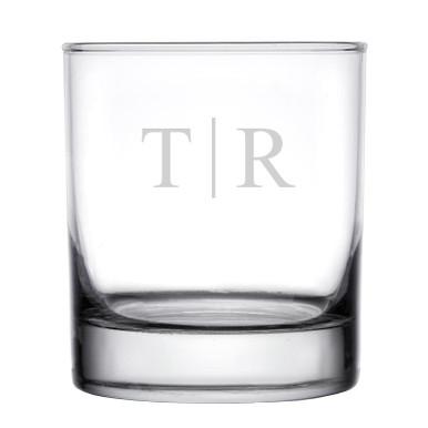 Personalized Rocks Whiskey Glass Classy Monogram