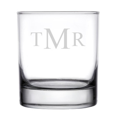 Personalized Rocks Whiskey Glass Traditional Monogram