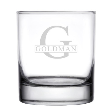 Personalize Rocks Whiskey Glass Initial & Name