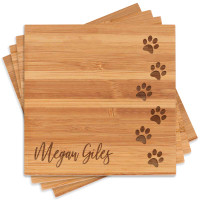 Personalized Paw Print Coasters with Name