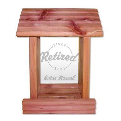 Personalized Cedar Wood Bird Feeder Retirement Gift