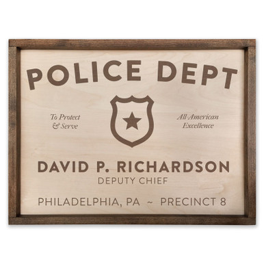 Personalized Wood Police Department Plaque