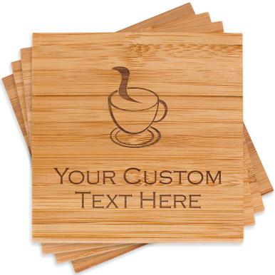 Custom Engraved Wooden Coaster Set
