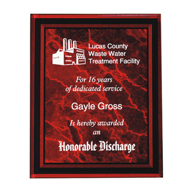 Laser Engraved Acrylic Plaque Red 9x11 | Laser Engraved Plaques