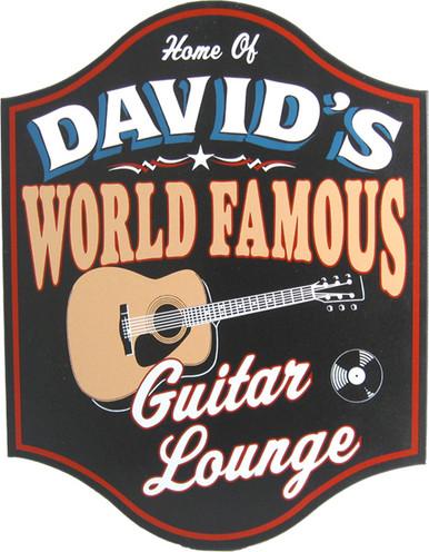 Personalized World Famous Guitar Lounge Plaque