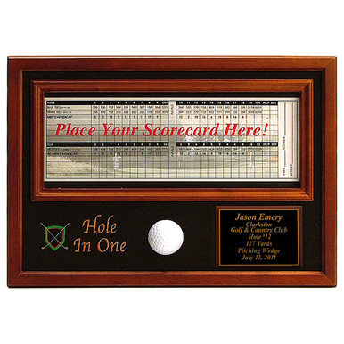 Personalized Hole In One Ball & Scorecard Display