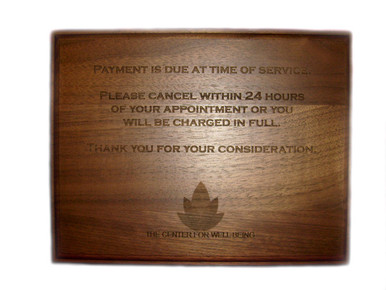 Laser Engraved Walnut Wood Plaque 7x9