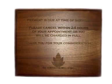 Laser Engraved Walnut Wood Plaque