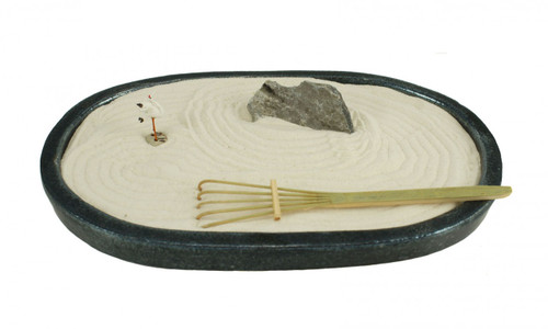 Large Sand Garden, Includes: 1 Rake, 1 Miniature Crane, 1 Decorative Rock, Sand, and a Ceramic Base.