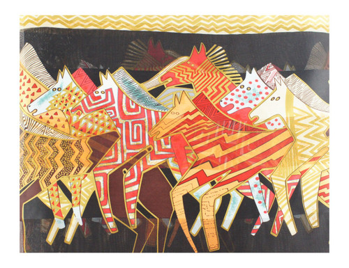 Native Horses 100% Silk Scarves by Laurel Burch.
