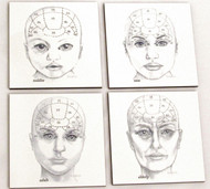 Phrenology Head Coaster Set