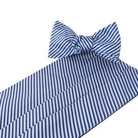 Collared Greens Signature Series Stripes Cummerbund Set - Navy