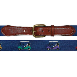 Smathers & Branson Rainbow Golf Carts Needlepoint Belt - Navy