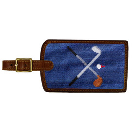 Smathers & Branson Crossed Clubs Needlepoint Luggage Tag - Navy