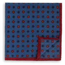 Peter Millar Circle Square Dot Pocket Square - Blue