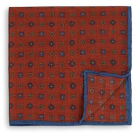 Peter Millar Circle Square Dot Pocket Square - Orange