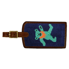 Smathers & Branson Dancing Bears Needlepoint Luggage Tag - Navy
