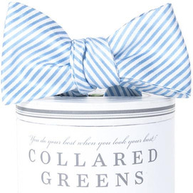 Collared Greens Signature Series Stripes Bow Tie - Carolina Blue