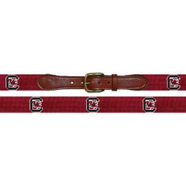 Smathers and Branson University of South Carolina Needlepoint Belt - Garnet