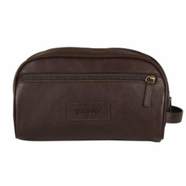 Barbour Leather Wash Bag - Chocolate