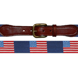 Smathers & Branson American Flag Needlepoint Belt - Navy
