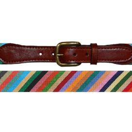 Smathers & Branson Parsons Stripe Needlepoint Belt