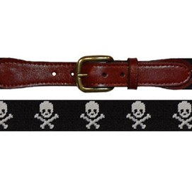Smathers & Branson Jolly Rodger Needlepoint Belt - Black