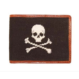 Smathers & Branson Jolly Roger Needlepoint Wallet - Black