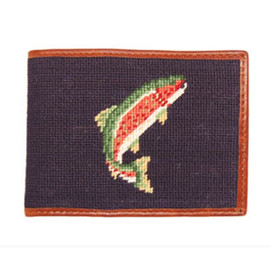 Smathers & Branson Trout Needlepoint Wallet - Navy
