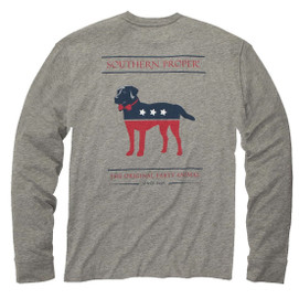 Southern Proper L/S Party Animal Tee - Light Grey