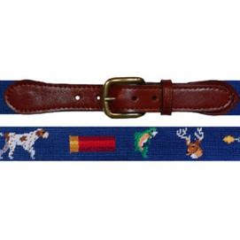 Smathers & Branson Southern Sportsman Needlepoint Belt - Navy