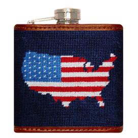 Smathers & Branson Americana Needlepoint Flask