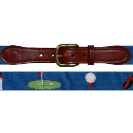 Smathers & Branson Golfer's Life Needlepoint Belt - Blueberry