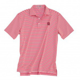 Peter Millar North Carolina State University E4 Performance Stripe Polo - Red