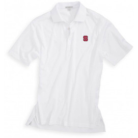 Peter Millar North Carolina State University Cotton Solid Polo - White