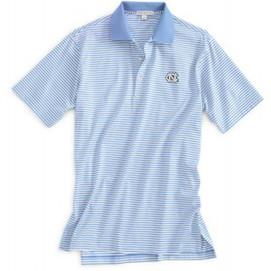 Peter Millar UNC Cotton Stripe Polo - Tarheel Blue